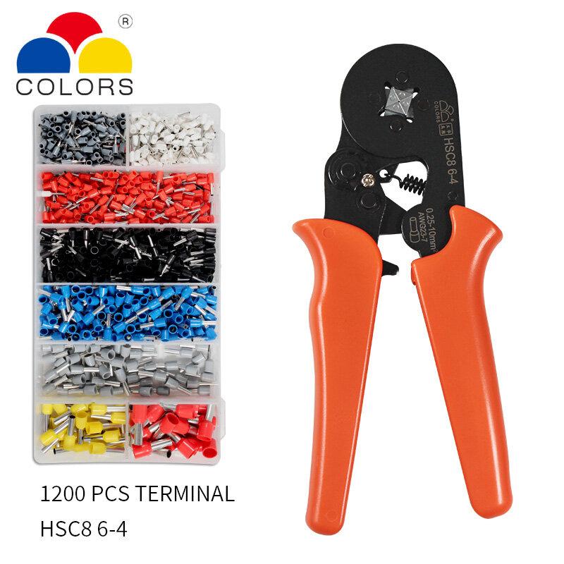 Crimpen Werkzeug Set Crimp Werkzeuge-Draht Crimpen Tool Kit, zwinge Crimpen Zange Werkzeuge 1200 stücke Draht Ferrule Terminals Kit 0,25-10mm²