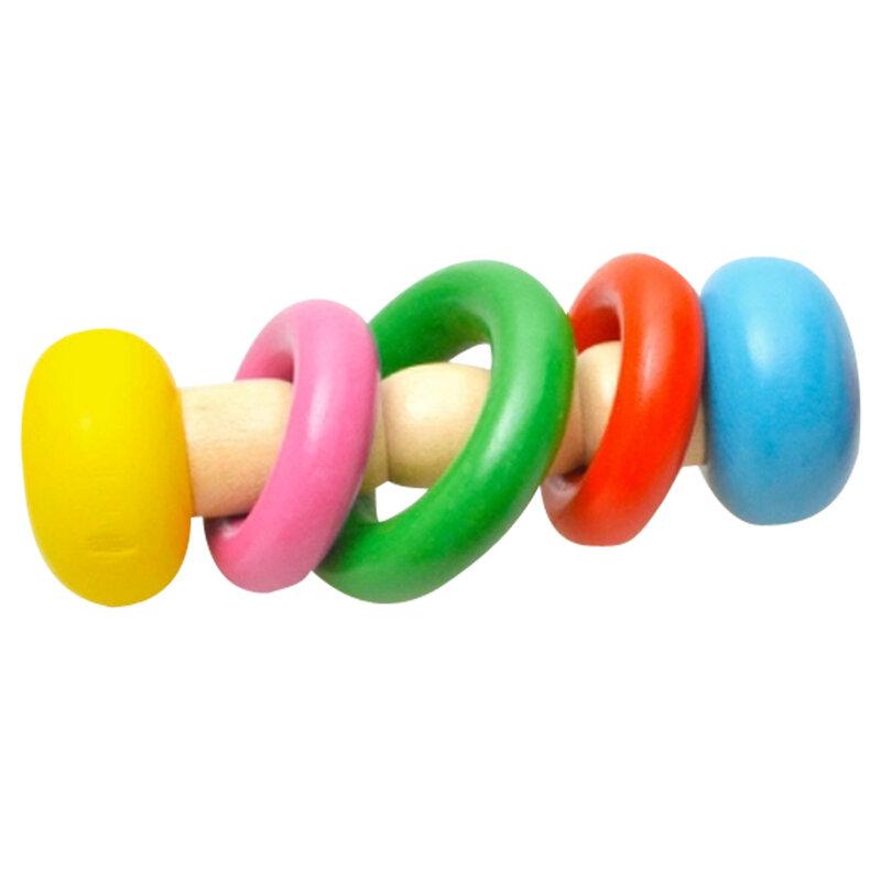 1pc Baby Aus Holz Rassel Spielzeug Kinder Musical Instrument Bildung Spielzeug Infant Holz Handbell Rasseln Lustige Kinder Griff Glocken Geschenke