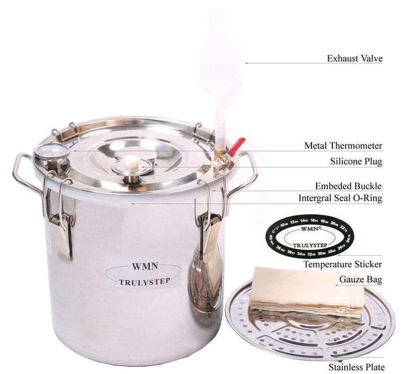 DIY Home 2 แกลลอน/10 ลิตรแอลกอฮอล์วิสกี้ Cooper Distiller Cooler Moonshine ยังคงสแตนเลสหม้อไอน้ำและ Thumper Keg Spirits BREW Kit