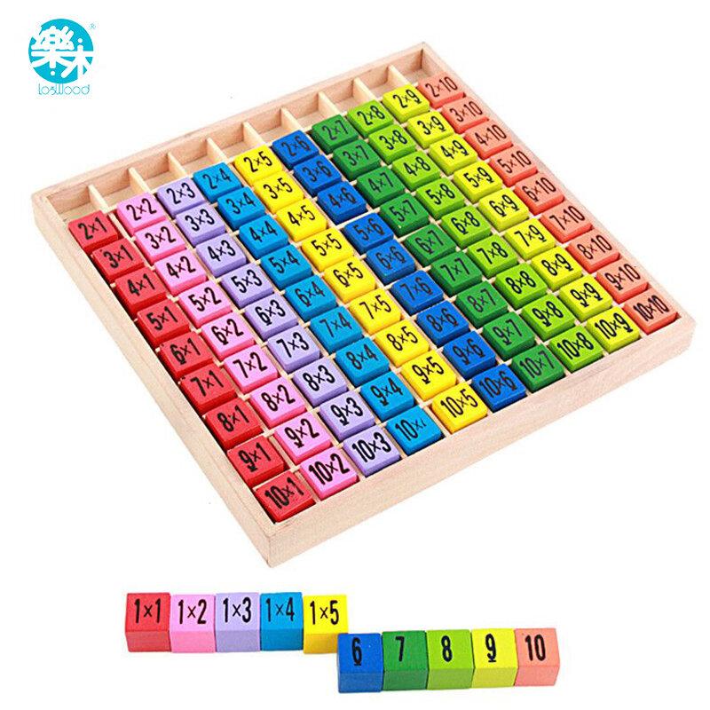 Bambino Giocattoli di legno 99 Tabella di Moltiplicazione Matematica Giocattolo 10*10 Blocchi di Figura Del Bambino imparare Educativi montessori trasporto libero dei regali