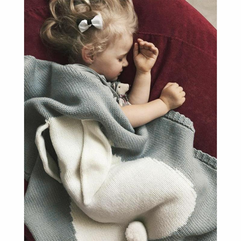 بطانية أطفال ، وردي ، أبيض ، أرنب ، رمادي ، للسرير ، أريكة ، بطانية صوف ، غطاء سرير ، مناشف حمام ، سجادة لعب ، 73 × 105