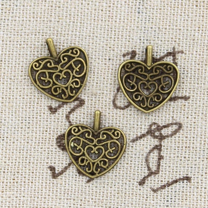 دلايات على شكل قلب عتيق ، مجوهرات مصنوعة يدويًا ، لون فضي برونزي تبتي عتيق ، 16 × 14 مللي متر ، 30 قطعة
