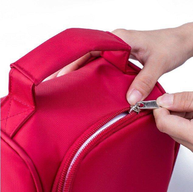 Neue design dicke warme thermische isolierte boxen nylon mittagessen tasche rot mittagessen taschen tote mit zipper kühler lunch box isolierung tasche