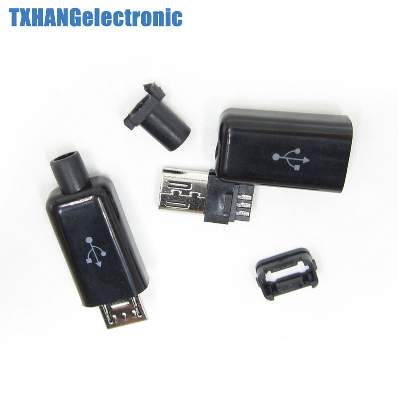 10 قطعة DIY مايكرو USB ذكر التوصيل موصلات كيت w/يغطي أسود فرض المقبس diy الإلكترونية كيت