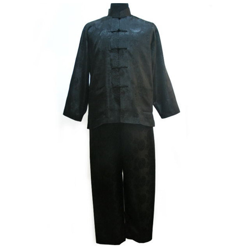 สีดำประเพณีจีนผู้ชาย Kung Fu ชุดยาวแขนเสื้อด้านบนมีกางเกง S M L XL XXL XXXL YF1141