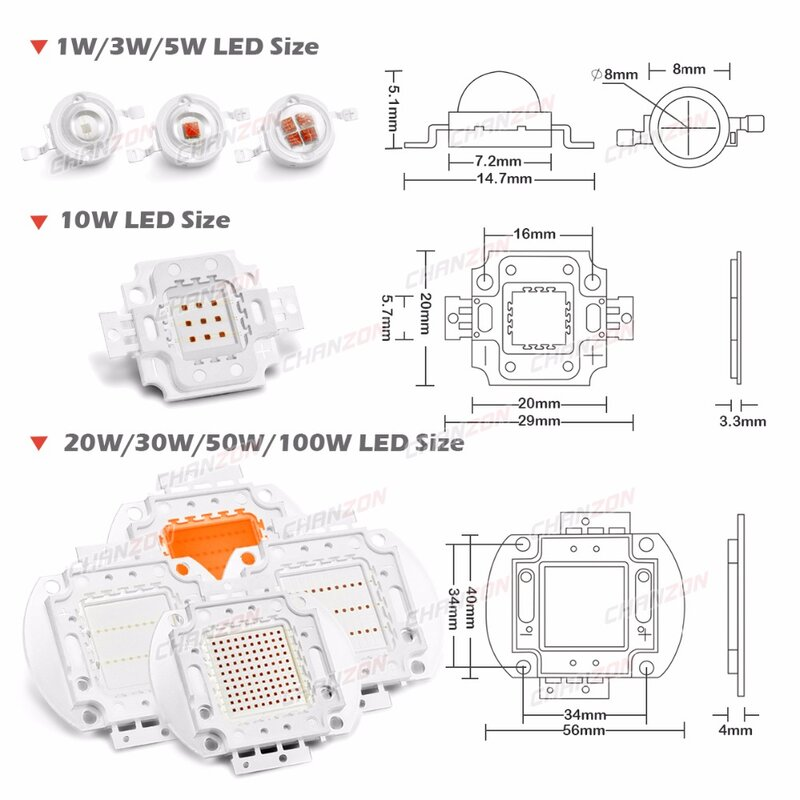 رقاقة LED عالية الطاقة لزراعة النباتات ، طيف كامل ، أزرق ملكي ، 440nm 1W 3W 5W 10W 20W 30W 50W 100W 660 nm