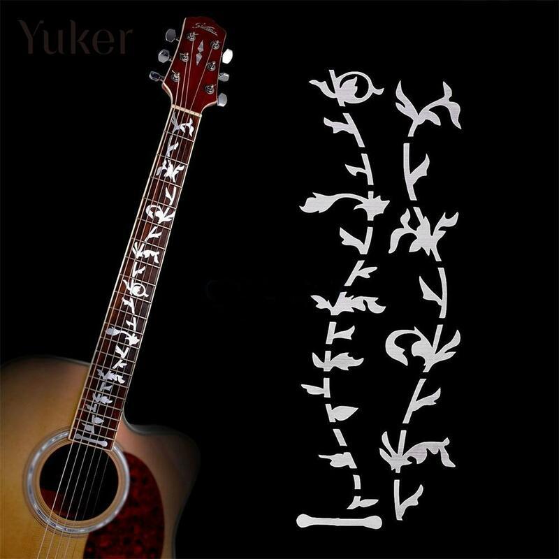 Yuker ไฟฟ้าอะคูสติกกีต้าร์สติกเกอร์เบส Inlay Decal Ultra Thin Fretboard สติกเกอร์สำหรับอุปกรณ์กีตาร์