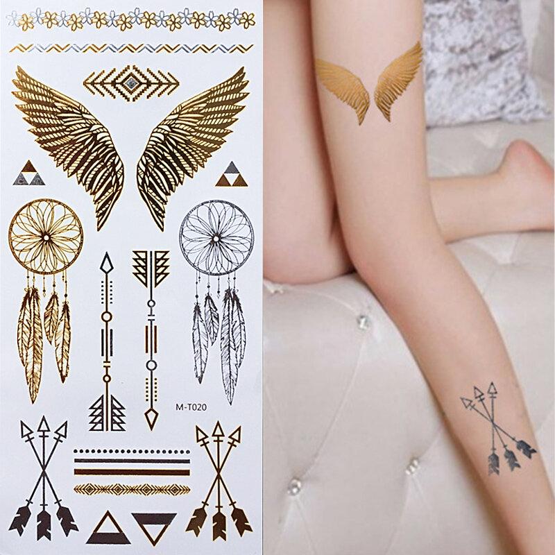 ใหม่เป็นมิตรกับสิ่งแวดล้อมชั่วคราวสักทองเงินรอยสักโลหะแฟลช Body Art Tattoo Henna Tatouage Taty