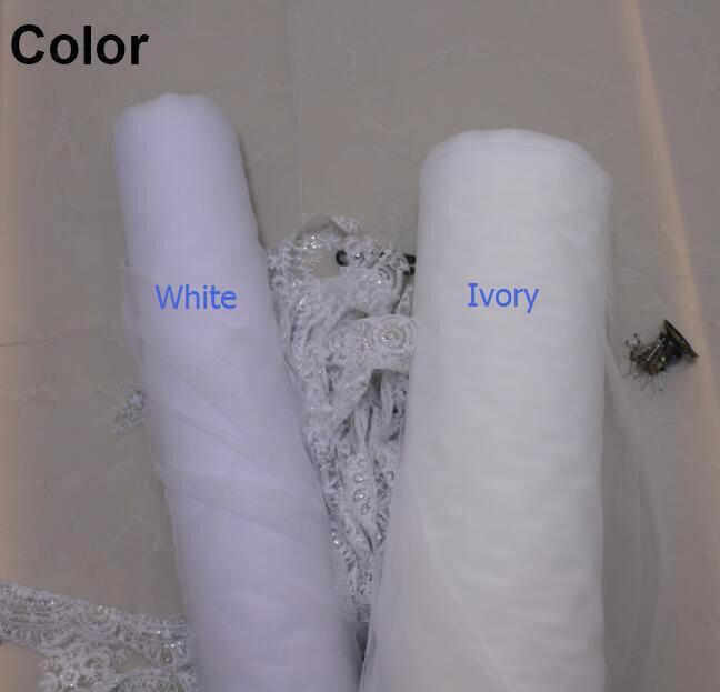 Velos de da sposa 3 Metri 2 T White & Ivory Paillettes Blings Scintillante Del Bordo Del Merletto Purfle Lungo Cattedrale di Veli Da Sposa