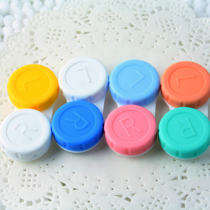 10 pcs lot  Colored Contact Lenses Case L+R Contact Lens Case for Eyes Contacts travel Kit Holder Lens Container