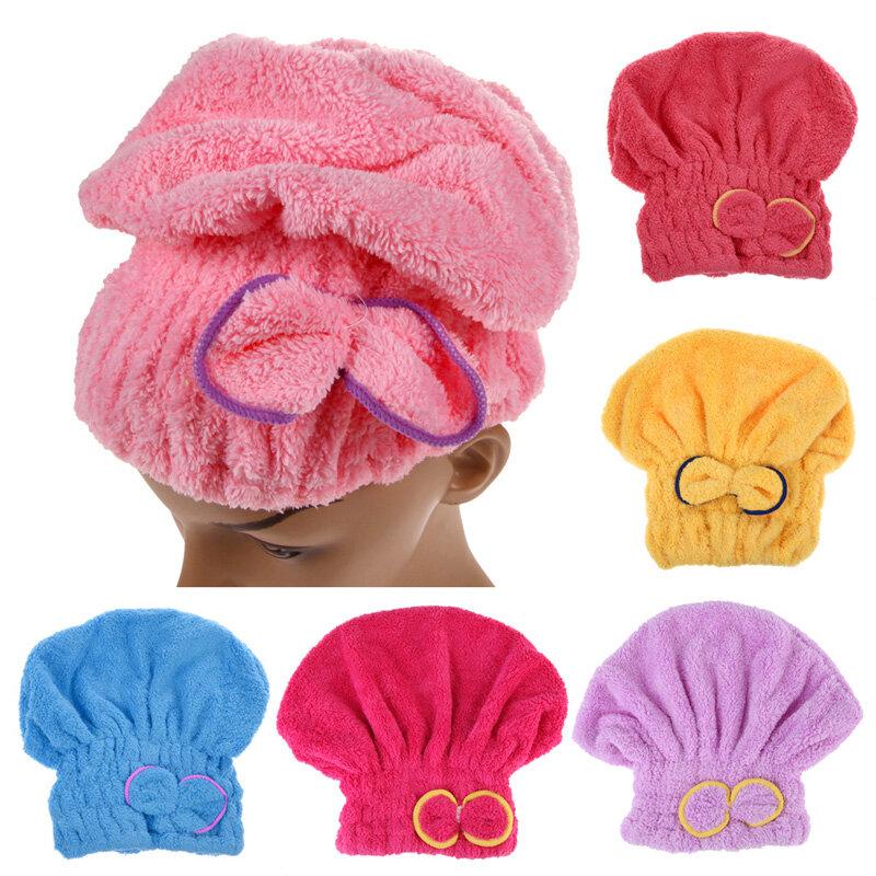 6 farben Mikrofaser Solid Schnell Trockenes Haar Hut Frauen Mädchen Damen Kappe Bad Zubehör Trocknen Handtuch Kopf Wrap Hut