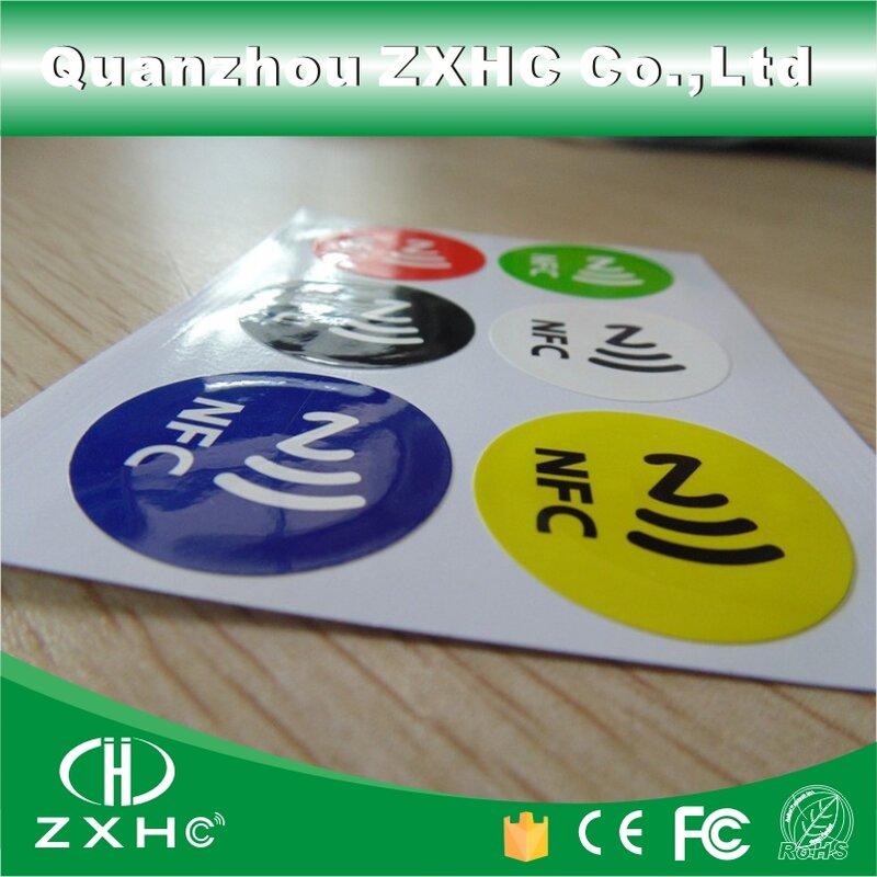 (6 قطعة/المجموعة) للماء مادة PET ملصقات 6 ألوان NFC الذكية لاصق Ntag213 الكلمات متوافق مع جميع الهواتف