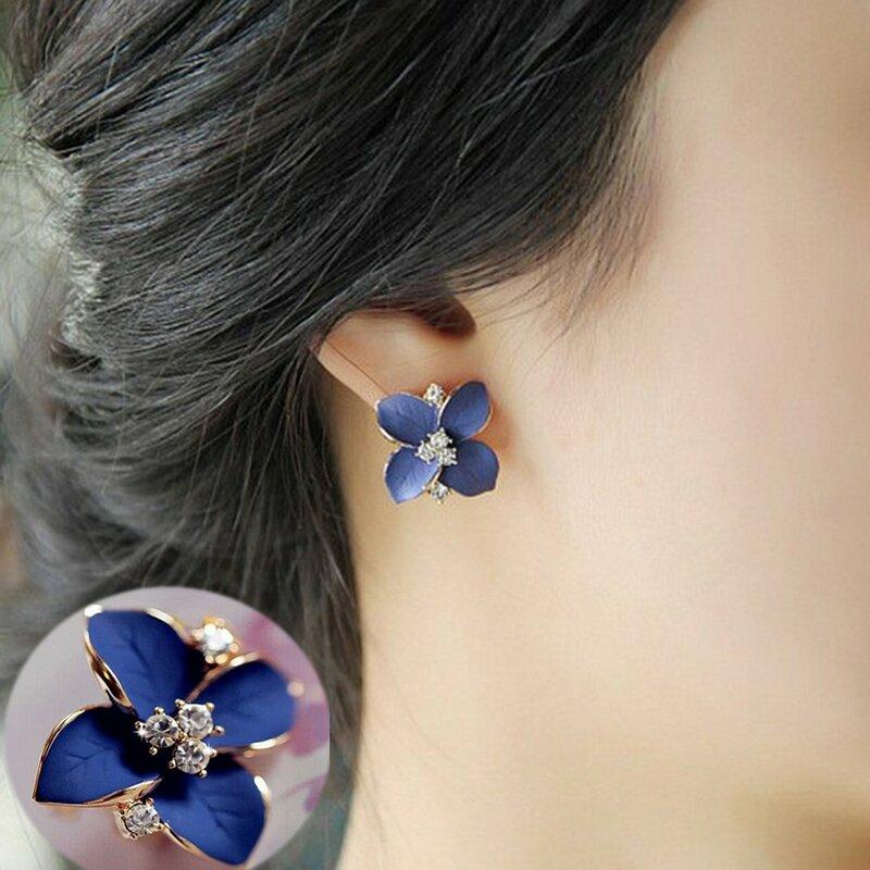 KISSWIFE 2018 nouveau élégant Noble bleu fleur dames or strass boucles d'oreilles Piercing Brinco femmes une vente directe E005