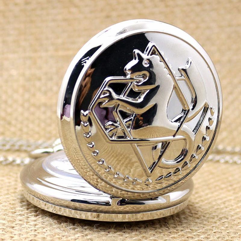 ساعة يد كوارتز طراز Steampunk ، طراز عتيق ، معدن كامل ، فضي ، للجيب ، P423C