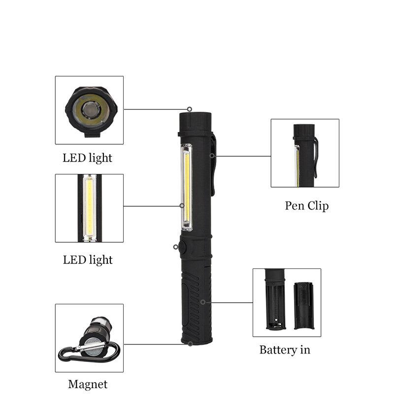 قلم كشاف COB LED صغير متعدد الوظائف ، أعمال فحص ، مصباح يدوي ، بمغناطيس سفلي ومشبك ، أسود/أحمر/أزرق
