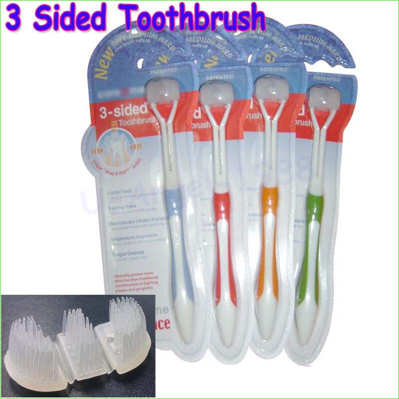 2pcs Tre lati spazzolino ultrafine spazzolino a setole morbide adulto spazzolino da denti