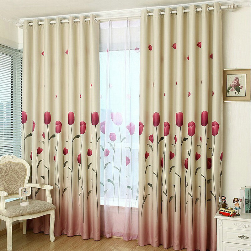 Rustikalen Fenster Vorhänge Für wohnzimmer/Schlafzimmer Blackout Vorhänge Fenster Behandlung/vorhänge Home Decor Tulip/blätter/floral Muster