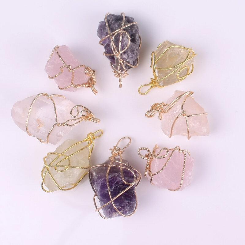 قلادة مصنوعة يدويًا من الحجر الطبيعي ، قلادة كلاسيكية من الكوارتز الأرجواني والوردي ، للنساء