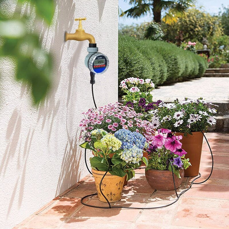 Pantalla LCD automática temporizador de riego, válvula de bola electrónica para jardín, controlador de riego para jardín #21026