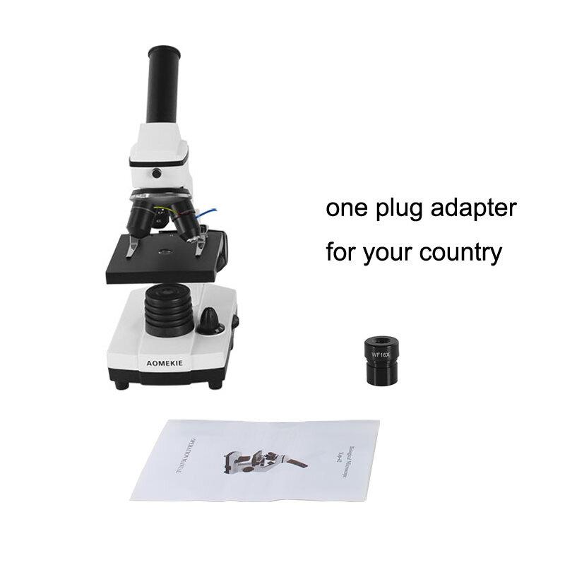 AOMEKIE-microscopio biológico profesional, 64X-640X, arriba/abajo, LED, laboratorio educativo para estudiantes de ciencia, microscopio Monocular para el hogar, regalo