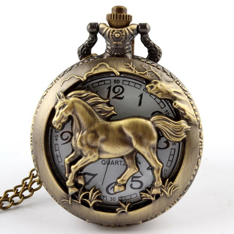 دروبشيبينغ البرونزية الحصان الجوف ساعة جيب كوارتز قلادة قلادة المرأة الرجال الهدايا P247