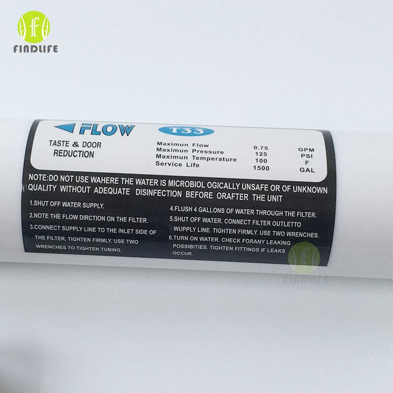 Purificador de agua en línea, cartucho de filtro de ósmosis inversa, poste de carbón de coco, conexión rápida, 10 pulgadas, T33, 2 uds.