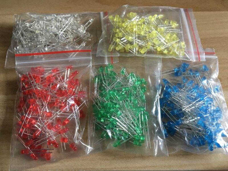 500 개/몫 3mm led 다이오드 키트 혼합 색상 빨강 녹색 노랑 파랑 흰색