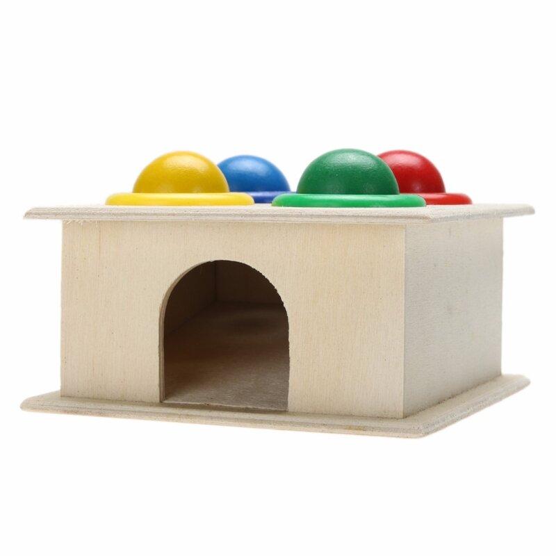 صندوق مطرقة الكرة الخشبية ، لعبة تعليمية للأطفال ، التعلم المبكر ، لعبة مطابقة معرفية ملونة