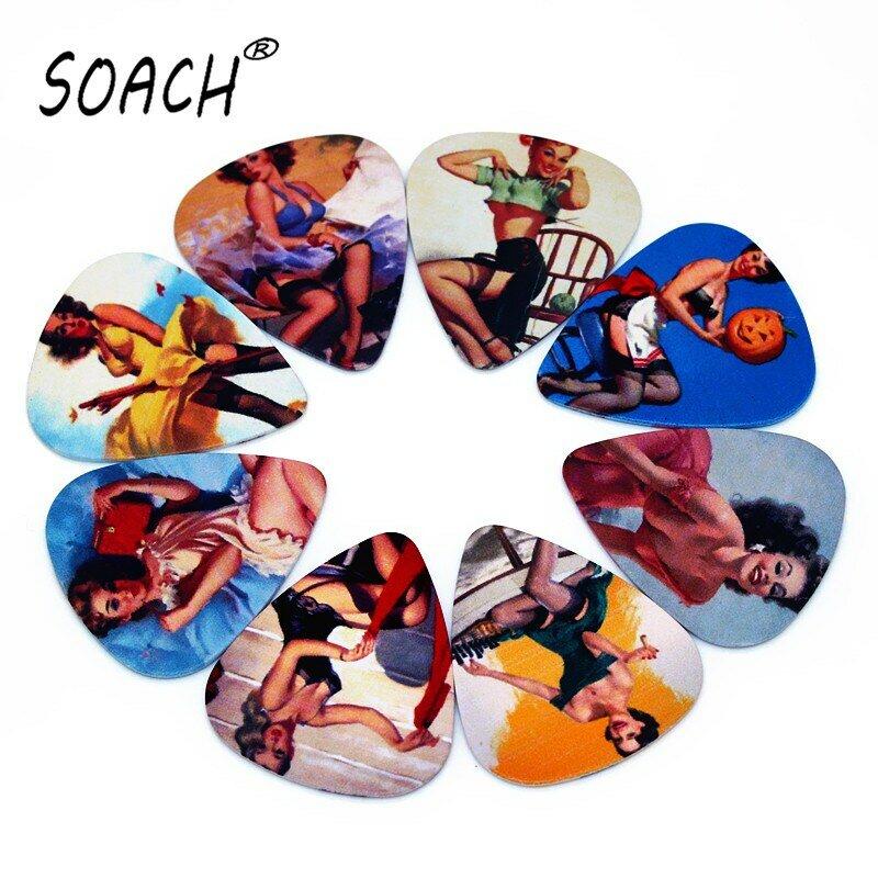 SOACH 10pcs 0.71mm กีต้าร์ Picks คุณภาพสูงสองด้านต่างหูเลือกออกแบบอุปกรณ์กีตาร์ Pick สำหรับ Ukulele BASS