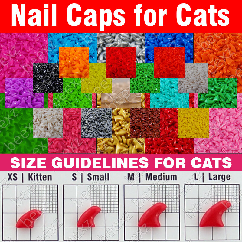 120 pcs-นุ่มเล็บสำหรับแมว+ 6xกาวกาว+ 6x applicator/* xs, s, M, L,ตีน,กรงเล็บ,ปก,โลทcat */