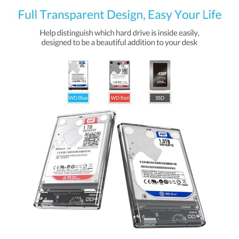 ORICO HDD Case 2.5 شفافة SATA إلى USB 3.0 محول قرص صلب خارجي ضميمة ل 7 مللي متر/9.5 مللي متر SSD القرص HDD UASP SATA III