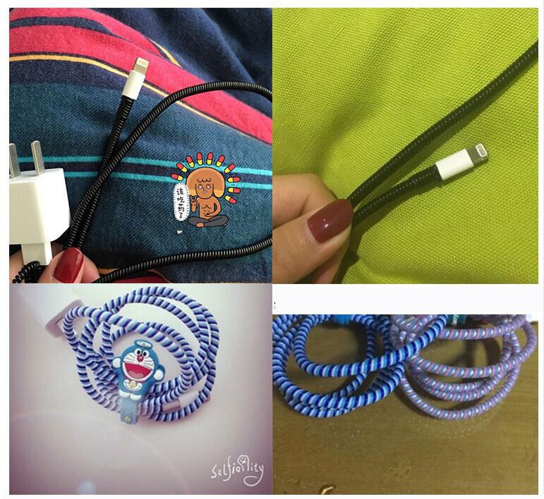 Funda protectora para Cable de datos de 60cm, cuerda de resorte para Iphone y Android, carga USB, funda para auriculares, bobinadora