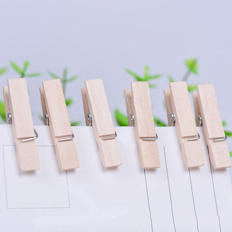 50 pièces très petite Mine taille 25mm Mini pinces en bois naturel pour pinces Photo pince à linge artisanat décoration Clips chevilles fournitures scolaires