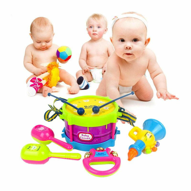 Juego de Mini instrumentos musicales, juego de música, tambor, cuerno, campana de mano, juguete educativo para bebés, 5 unids/set