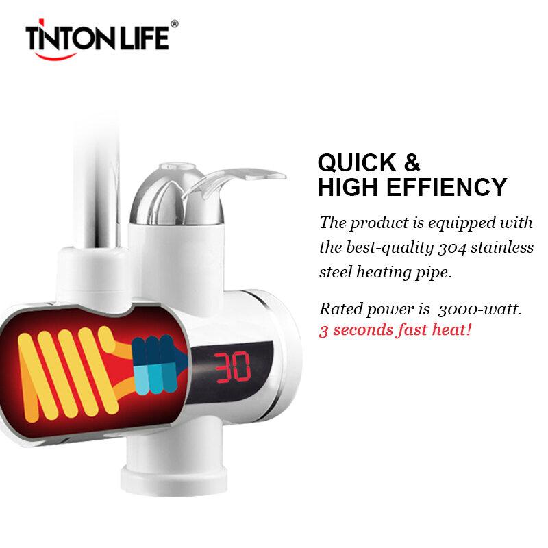 TINTON LIFE 인스턴트 Tankless 전기 온수기 수도꼭지 주방 인스턴트 난방 수도꼭지 LED EU 플러그와 온수기