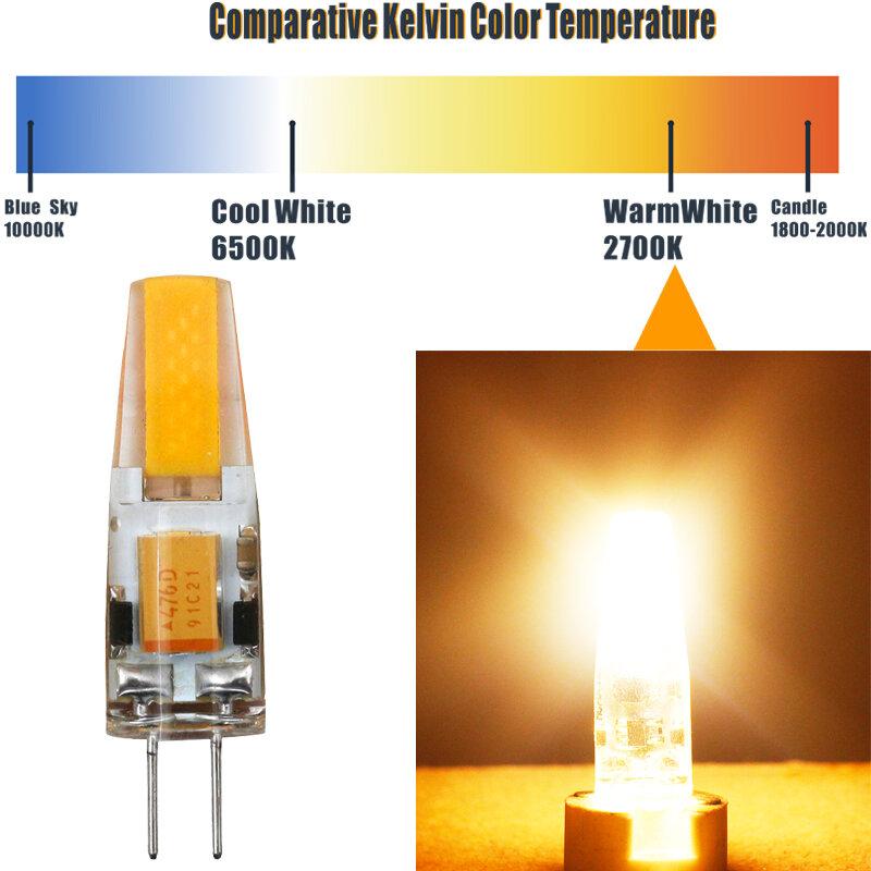 JCKing (10 팩) 2W G4 LED 램프 COB LED AC120V/220V 따뜻한 화이트/쿨 화이트 25W 할로겐 전구 LED G4 스포트 라이트 램프