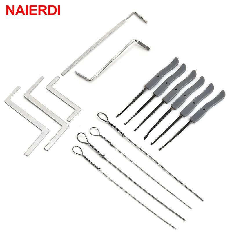 NAIERDI-Juego de extracción de llaves rotas, suministros de cerrajero, herramienta de mano, ganchos de extracción, Hardware de muebles, 15 Uds.