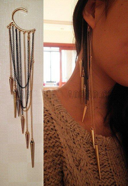 بوهو طويل الأذن الأصفاد الأقراط والمجوهرات الأقراط الأزياء الوشم فاسق شخصية شنقا واحد