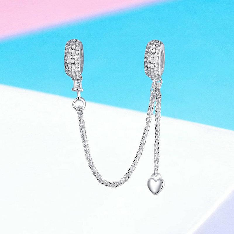 BAMOER-سوار من الفضة الإسترليني على شكل قلب للنساء ، سوار ، 925 فضة استرلينية ، اتصال الحب ، SCC1112