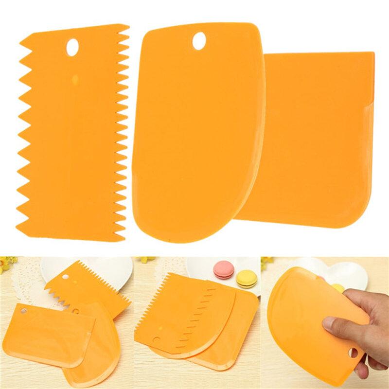 3ชิ้น/เซ็ตพลาสติกมีดแป้ง Icing Fondant Jagged Edge เรียบเค้กพายเค้ก Spatulas Baking Pastry Tools TB