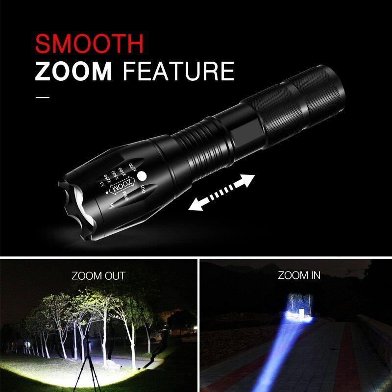 مصباح يدوي تكتيكي LED للتخييم ، مصباح يدوي قابل للتكبير ، 5 أوضاع ، مقاوم للماء ، AAA ، 18650 ، ZK60 Q250 TL360