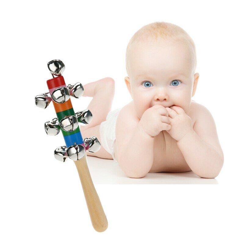 Arc-en-ciel bébé hochets jouets nouveau-né bébé hochet son jouet infantile landau berceau poignée en bois cloche bâton Shaker jouets en bois Handbell
