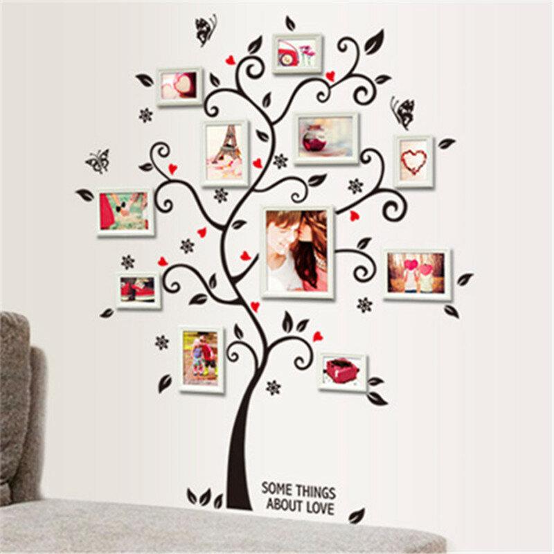 DIY 가족 사진 프레임 나무 벽 스티커 홈 장식 거실 침실 벽 전사 무늬 포스터 홈 장식 월페이퍼