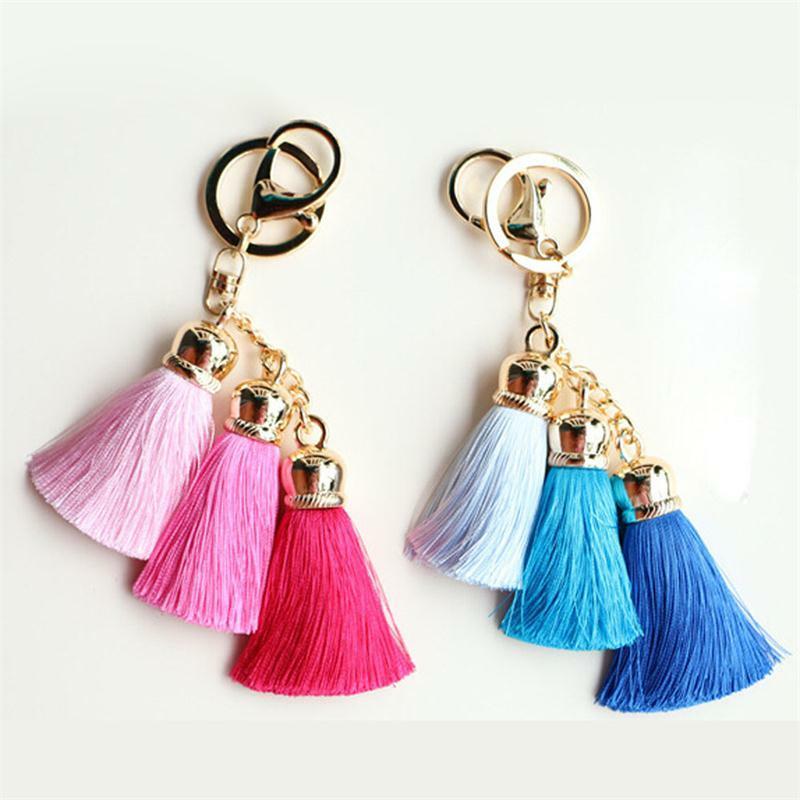 حار بيع سلسلة مفاتيح ملونة حقيبة ملحقات الحرير شرابة Pompom سيارة المفاتيح حقيبة يد حلقة رئيسية