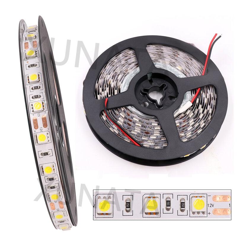 0.5m 1m 2m 3m 4m 5m DC 5V USB 흰색/따뜻한 흰색 60Leds/m Led 스트립 조명, DC 12V 5050 유연한 Led 스트립 조명