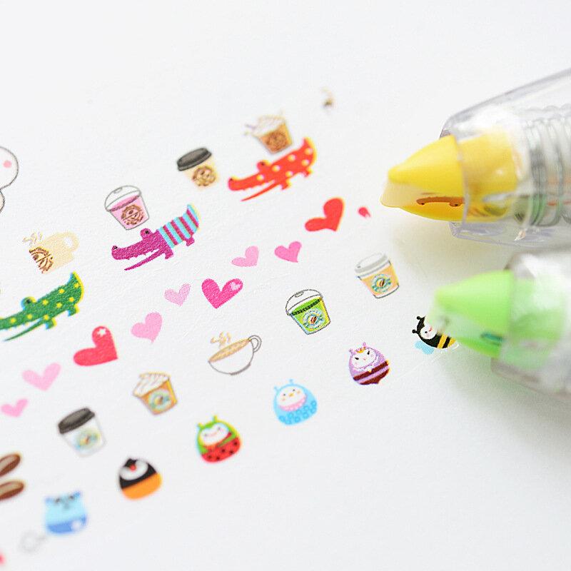 Cinta de corrección con dibujos animados, cintas decorativas con animales para Pegatinas de diario de recortes, papelería, suministros escolares, A6514