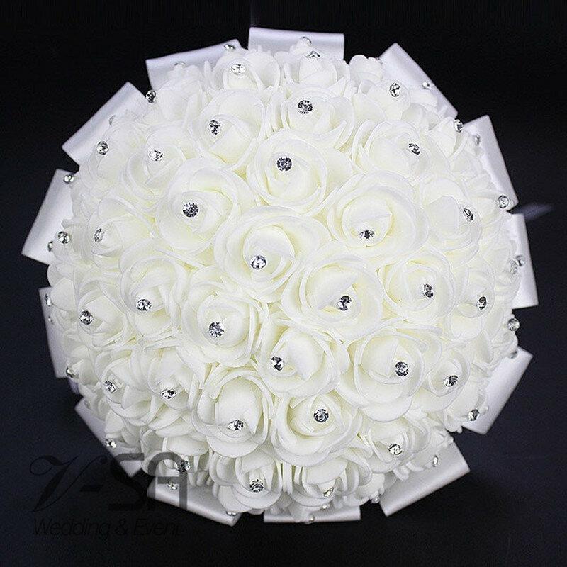 Fiore Bouquet Da Sposa Stunning di Cristallo Bouquet Da Sposa Artificiale Accessori di Cerimonia Nuziale Fiori di Rosa De Mariage Bouquet Da Sposa