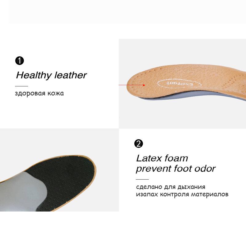 Semelles orthopédiques 3D Premium en cuir sain, pour pied plat, Support d'arc élevé, chaussures pour hommes et femmes
