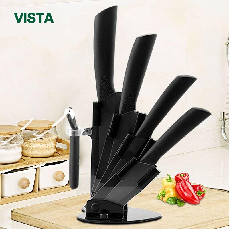 """มีดครัวมีดเซรามิคชุดอุปกรณ์เสริม3 """"Paring 4"""" Utility 5 """"Slicing 6"""" มีดเชฟ + ผู้ถือ + Peelerใบมีดสีดำ"""