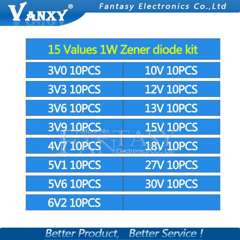 15 القيم * 10 قطعة = 150 قطعة 1W زينر ديود عدة تفعل 41 3V-30V مكون diy كيت جديدة ومبتكرة